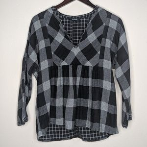 Madewell Mixed Plaid Flannel V Neck Top